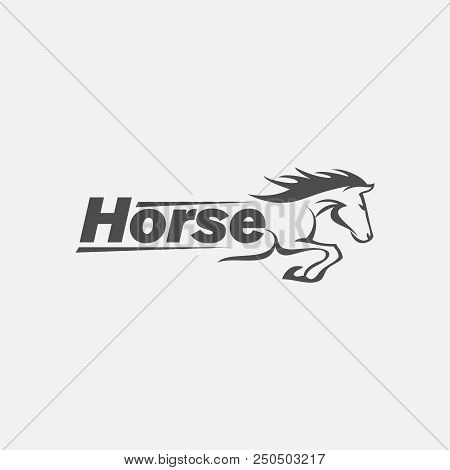 Horse Racing Logo Template. Vector Racer Or Rearing Mustang And Running Stallion Head For Equine Spo