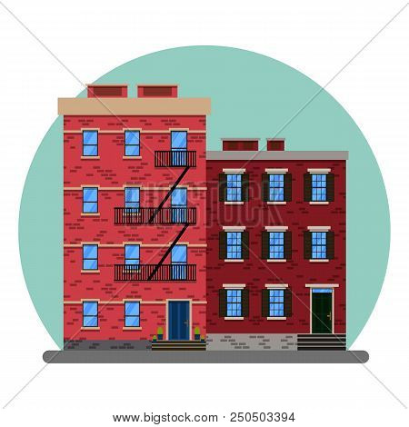 The Old American City Abstract Buildings. New York Old Manhattan Houses.old Building And Facades Of