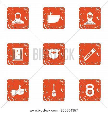 Upkeep Icons Set. Grunge Set Of 9 Upkeep Vector Icons For Web Isolated On White Background
