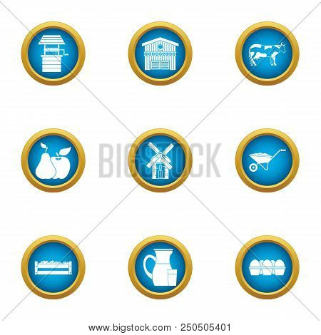 Country Economy Icons Set. Flat Set Of 9 Country Economy Vector Icons For Web Isolated On White Back