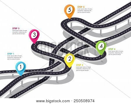 Road Trip And Journey Route Background. Business And Journey Infographic Design Template. Stylish 3d
