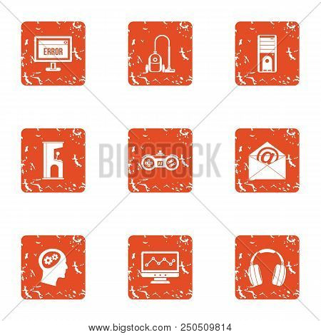 Software Error Icons Set. Grunge Set Of 9 Software Error Vector Icons For Web Isolated On White Back