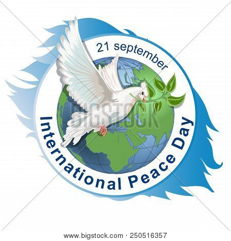 International Peace Day Concept. Vector Illustration. White Dove With Branch And Sign Of Pacificatio