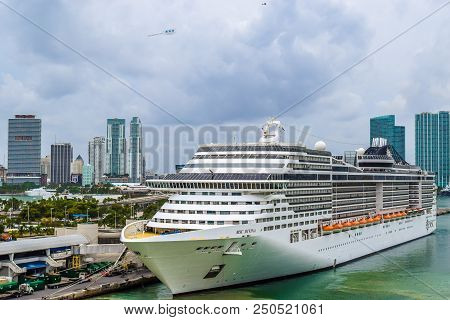 Miami, Florida - March 29 2014: Msc Divina Cruise Ship Docked In Miami On An Overcast Day.
