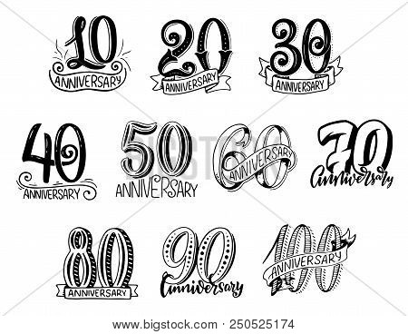 Anniversary Numbers Year Sketch Lettering For Birthday Greeting Card Design. Vector Isolated Calligr