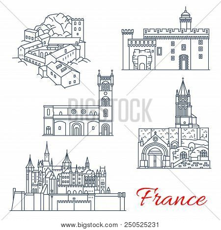 France Famous Travel Landmark Buildings Line Icons. Vector Set Of Saint-martin Abbey In Tours, Carca
