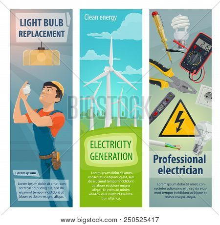 Electrician Profession Worker And Electricity Repair Work Tools Banners. Vector Electrician Man With