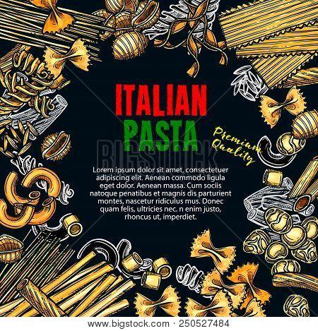 Italian Pasta Sketch Poster For Premium Quality Italy Cuisine Or Pasta Restaurant Menu Design. Vecto