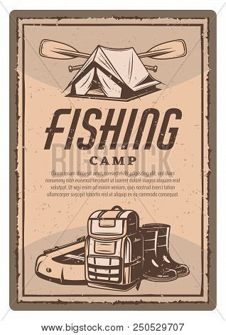 Fishing Camp Of Fisherman Sport Club Vintage Poster. Vector Retro Design Of Tent With Boat Paddles,