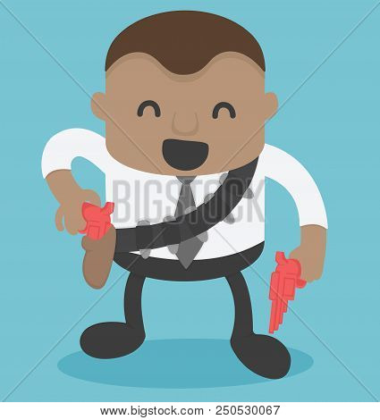 African Businessman Cowboy In The Hand There Is Gun Get Ready Shoot
