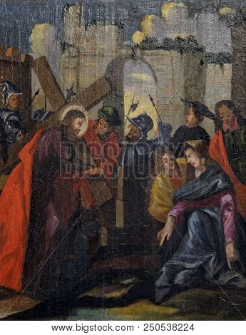 VELIKA MLAKA, CROATIA - MARCH 28: Jesus is given his cross, altarpiece in the Church of the Saint Barbara in Velika Mlaka, Croatia on March 28, 2017.
