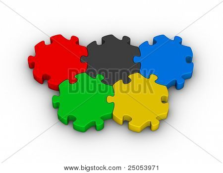 color jigsaw puzzles rings (knowledge competition)