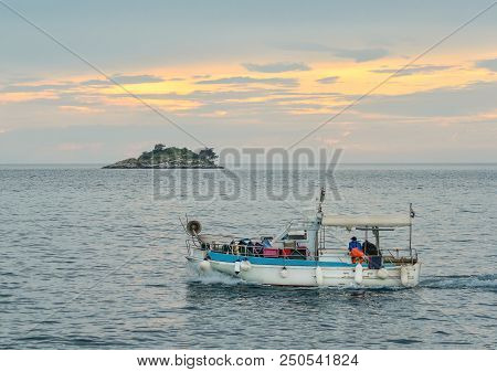 Rovinj, Croatia - May 22, 2018:  Harbour And  Islands Of St. Andrew And St. Catherine Of Old Town Ro