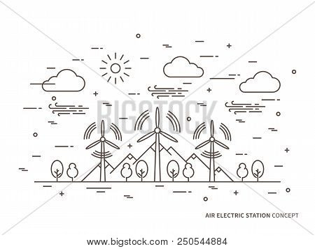 Linear Air Electric Station, Wind Energy Park, Wind Power Station Vector Illustration. Air Energy, W