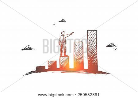 Investments, Profit, Prospect, Business, Growth Concept. Hand Drawn Businessman Standing On Growing