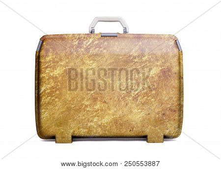 Used Plastic Suitcase With Stains And Scratches, Gold