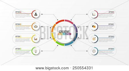 Abstract Elements Of Graph Vector Infographic Template With Label, Integrated Circles. Business Conc