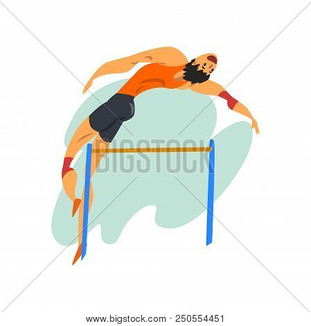 Athlete High Jump Man, Professional Sportsman At Sporting Championship Athletics Competition Vector