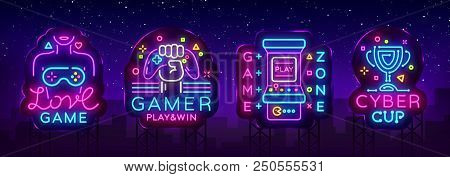 Video Game Neon Sign Collection Vector. Conceptual Logos, Love Game, Gamer Logo, Game Zone, Cyber Sp