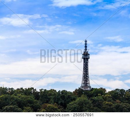 Beautiful Landscape With Petrin Lookout Tower On Top Of Hill, Prague,czech Republic