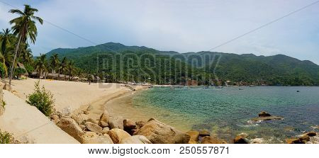 Panorama Of Yelapa Beach On A Sunny Day, One Of The Most Beautiful Beaches Near Puerto Vallarta, Res