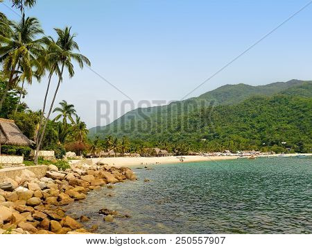 Yelapa Beach On A Sunny Day, One Of The Most Beautiful Beaches Near Puerto Vallarta, Resort Town In