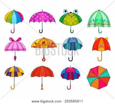 Kids Umbrella Vector Childish Umbrella-shaped Rainy Protection Open And Children Dotted Parasol Illu
