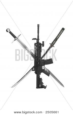 Modified M4 Carbine With Sword