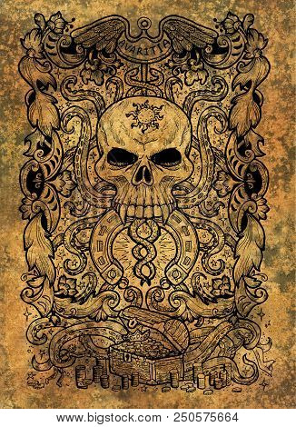 Greed. Latin word Avaritia means Avarice. Seven deadly sins concept on grunge background. Hand drawn engraved illustration, tattoo and t-shirt design, religious symbol poster