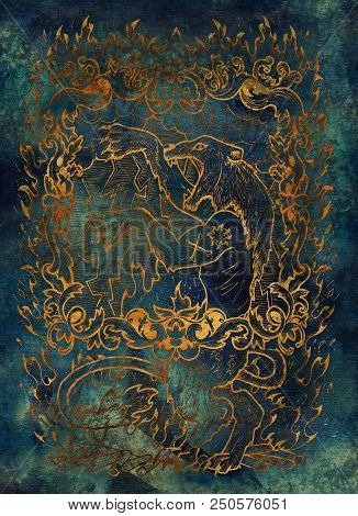 Wrath. Latin Word Ira Means Anger. Seven Deadly Sins Concept, Gold Silhouette On Blue Background. Ha