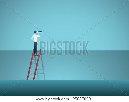 Business Leadership, Visionary, Career Vector Concept. Businessman On Corporate Ladder With Telescop