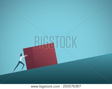 Business Challenge Vector Concept With Businesswoman As Sisyphus Pushing Rock Uphill. Symbol Of Diff