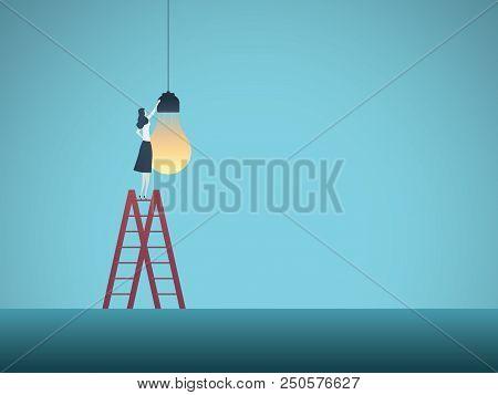 Business Creativity Vector Concept. Businesswoman Installing Lightbulb. Symbol Of Creative Ideas, In