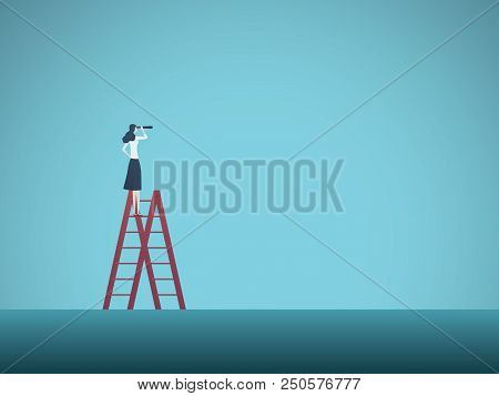 Business Vision Vector Concept With Business Man Standing On Top Of Ladder. Symbol Of Visionary, Cha