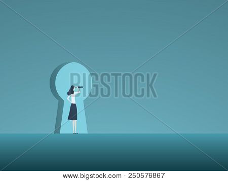 Business Vision And Solution Vector Concept With Business Woman Looking Through Keyhole. Symbol Of I