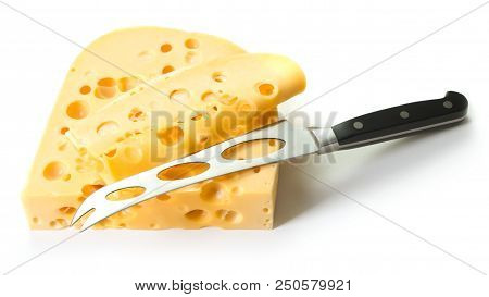Swiss Cheese And Knife Isolated On White Background