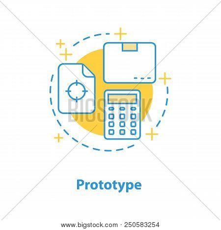 Prototype Design Concept Icon. Project Realization Idea Thin Line Illustration. Product Testing. Vec