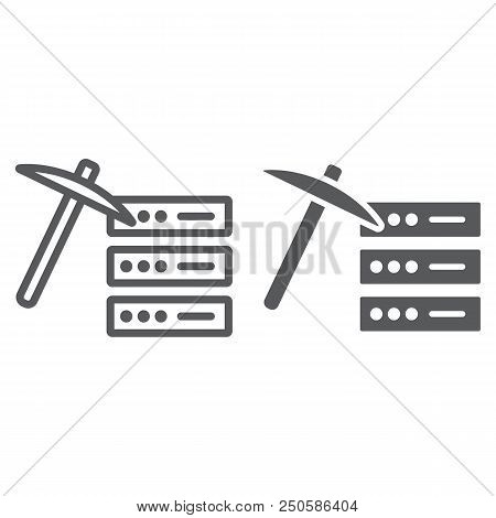 Data Mining Line And Glyph Icon, Data And Analytics, Mining Pick Sign, Vector Graphics, A Linear Pat