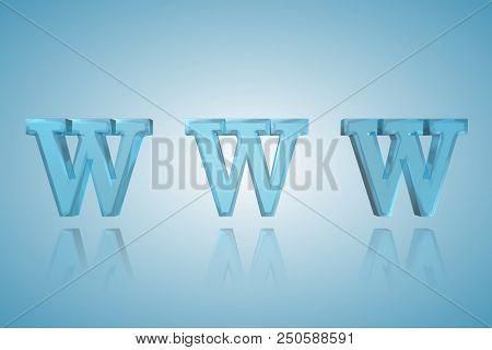 Www Lettering  - 3d Metallic Word Illustration
