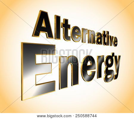 Alternative Energy lettering - 3D metallic word illustration poster