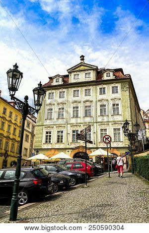 Prague, Czech Republic -july 23,2017: Journey Through Historic Prague. Medieval Houses Of The Histor
