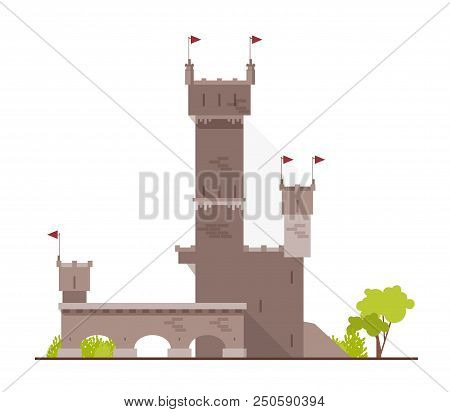 Ancient Castle, Fortress, Citadel Or Stronghold With Towers And Arches Isolated On White Background.