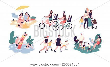 Collection Of Family Outdoor Recreational Activities. Mother, Father And Children Sunbathing, Riding
