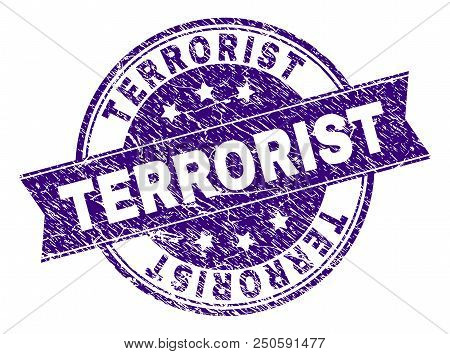 Terrorist Stamp Seal Imprint With Grunge Texture. Designed With Ribbon And Circles. Violet Vector Ru