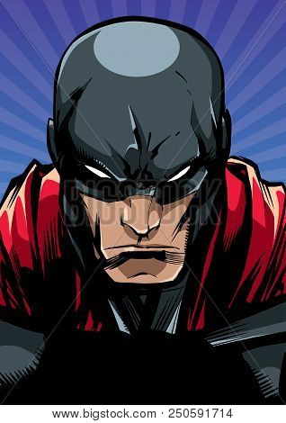 Comics Style Llustration Of The Portrait Of A Powerful Superhero Looking At Camera With A Tough Faci