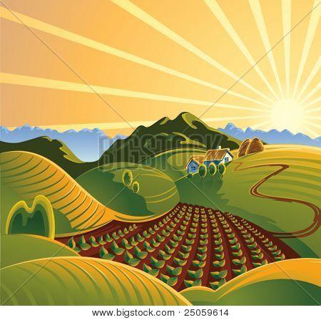 Zomer zonne-landschap met een zonsondergang en bergen