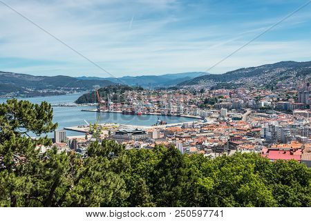 Vigo, Spain - May 20, 2017: Aerial View Of The Important Commercial And Fishing Port Of Vigo In Gali