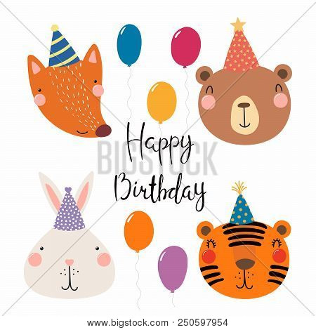 Hand Drawn Birthday Card With Cute Funny Fox Bear Bunny Tiger In Party Hats Balloons Quote Isolated Objects Scandinavian Style Flat Design