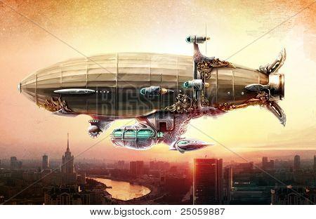 Dirigible balloon in the sky over a city