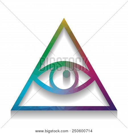 All Seeing Eye Pyramid Symbol. Freemason And Spiritual. Vector. Colorful Icon With Bright Texture Of